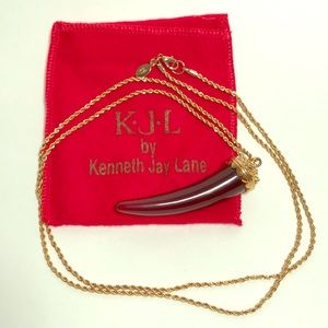 Amber Tone Fang Necklace - KJL
